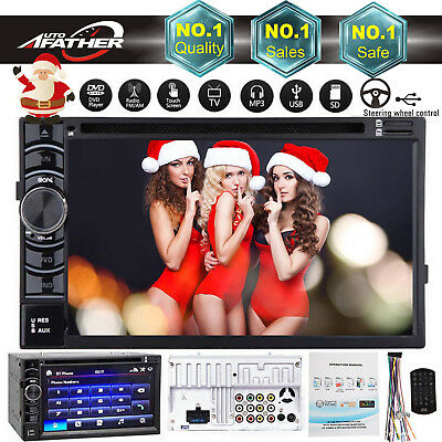 Double 2 Din Car Radio Cd Dvd Player Stereo Bluetooth Usb Sd Fm Aux Touch Screen