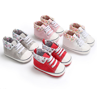 Newborn Baby Girl Pram Shoes Infant Toddler Soft Sole Sneakers Size 0-18 Months