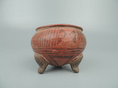 Antique Pre Colombian Pottery Three Footed Bowl VR