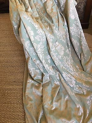Stunning Teal/gold Brocade Curtains 90Inchesx72Inches  = 180Inches