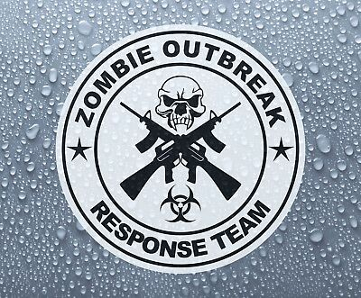 Zombie Outbreak Crossed guns printed self-adhesive sticker decal - Large sizes