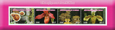 Congo 2017 MNH Mushrooms & Orchids 4v M/S Fungi Flowers Nature Stamps
