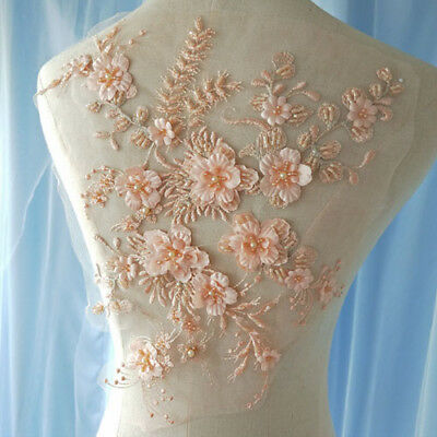 1X WEDDING DRESS Lace Fabric 3D Flowers Pearl Beaded Lace Applique