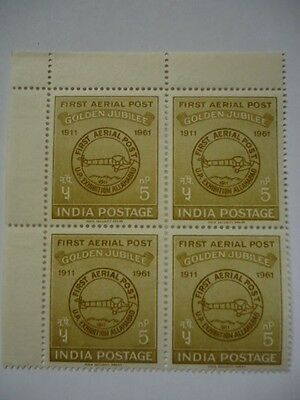 India 1961 SG434 5 n.p. olive-drab block of 4 MNH 50th Anniv of official airmail
