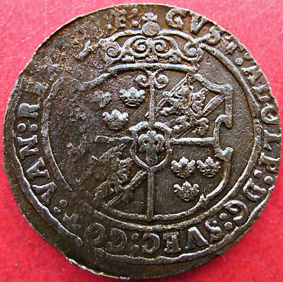 Sweden Copper 1 Ore 1629 Gustav II Adolf