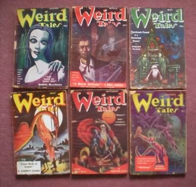 WEIRD TALES six issues from 1951 good/ very good condition LOVECRAFT, BLOCH, etc