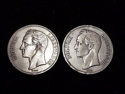 1921 Venezuela 5 Bolivares Silver Circulated coins - Lot of 2 (LN575)