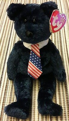 Mint Retired Ty Beanie Babies Pops Dad Father's Day USA Flag Bear 2001/2002 Baby