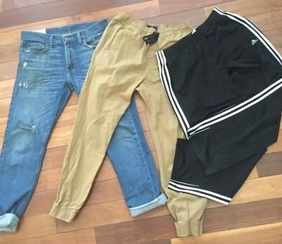 Lot Of 3 Men's Hollister Jeans American Eagle Joggers Adidas Track Pants Size M