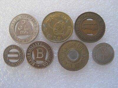 7 Different Transit Transportation Tokens Mixed Sizes & Locations Lot G