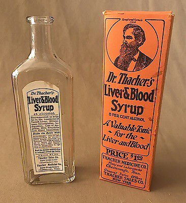 Early 1900s DR. THACHER'S Liver & Blood Syrup QUACK MEDICINE Bottle + Box