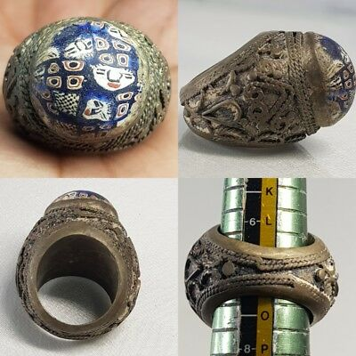 Antique Mosaic glass With Faces Bronze Unique Lovely Ring   # x2