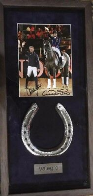 Valegro framed horse shoe and signed picture by Carl Hester & Charlotte Dujardin