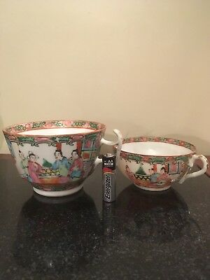 2 Antique Chinese Export Famille Rose Canton Porcelain Teacups~1900'S粉彩茶杯