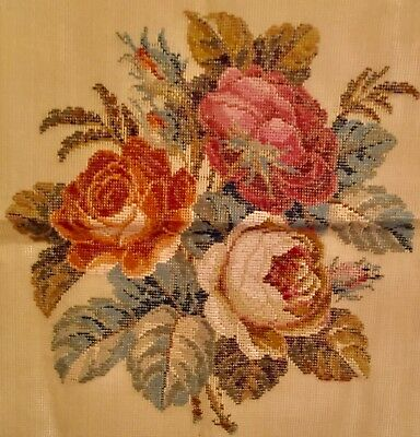 Vintage Style Woollen Tapestry Shabby Chic Roses