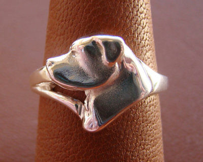 Small Sterling Silver Rottweiler Head Study Ring