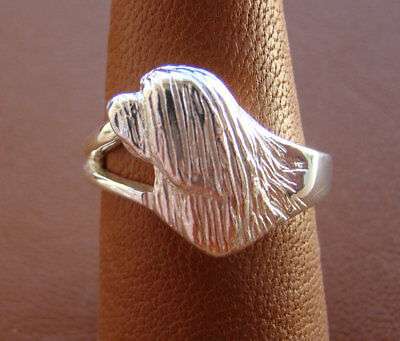 Sterling Silver Bearded Collie Side View Head Study Ring