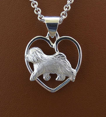 Small Sterling Silver Old English Sheepdog Moving Study On A Heart Frame Pendant