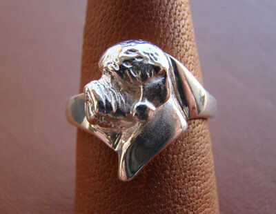 Large Sterling Silver Dandie Dinmont Terrier Head Study Ring