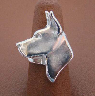 Large Sterling Silver Great Dane Head Study Ring
