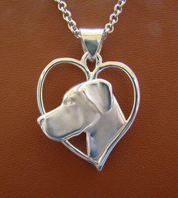 Large Sterling Silver Great Dane Head Study On A Heart Frame Pendant