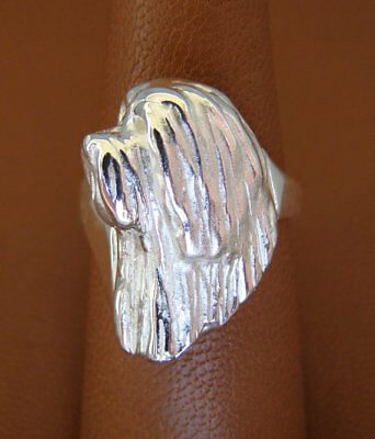 Sterling Silver Bearded Collie Head Study Ring