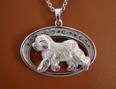 Large Sterling Silver Old English Sheepdog Moving Study On A Fancy Horizontal Ov