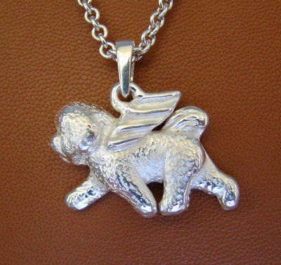 Large Sterling Silver Bichon Frise Angel Pendant