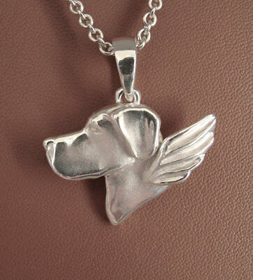 Large Sterling Silver Great Dane Angel Pendant (Un-cropped) Ears