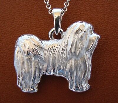 Large Sterling Silver Havanese Standing Study Pendant