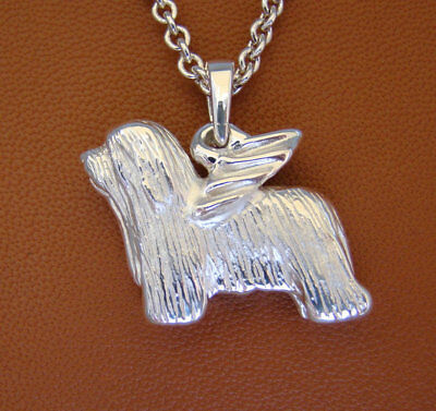 Large Sterling Silver Bearded Collie Angel Pendant