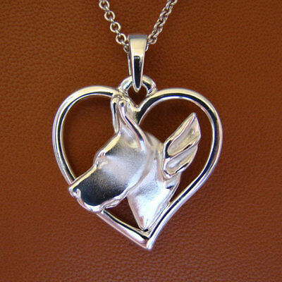 Small Sterling Silver Great Dane Angel Pendant (cropped) Ears On Free Form Heart
