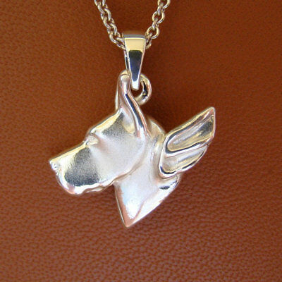 Small Sterling Silver Great Dane Angel Pendant (cropped) Ears