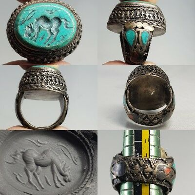 Very Old Turquoise Horse intaglio Stone Silver Medieval Unique ring  # x2