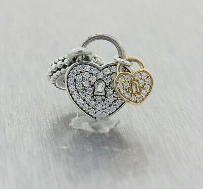 Authentic Pandora Sterling Silver and 14kt Love Locks CZ Dangle 791807CZ