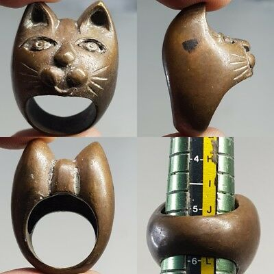 Bronze Antique Cat Head Face Beautiful Bronze Lovely  Medieval Ring  # x2