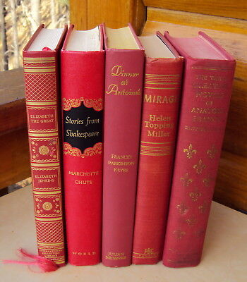 Lot Vintage Antique Decorative Books Old Novels Classic Literature Red Decor