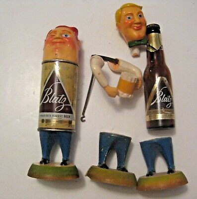 Misc. Vintage Blatz Beer Advertising Bottle Person Sign Parts For Repair ++