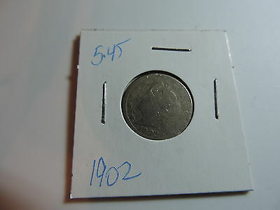 1902 US American Nickel coin A484