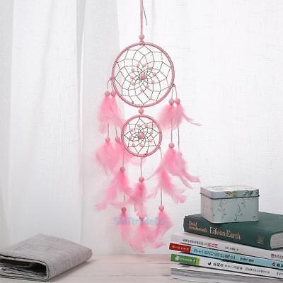 Dream Catcher Handmade With Feather Wall Hanging Decoration Ornament Gift Pink