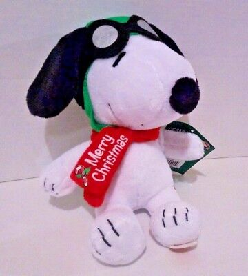 Peanuts Gang Christmas Musical Plush Snoopy Flying Ace Goggles Holiday Toy Doll