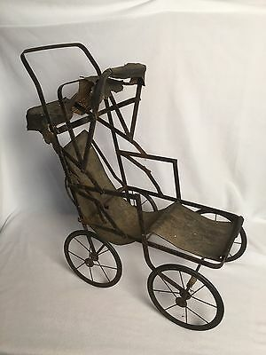 Antique Creepy Doll Carriage Distressed Condition Barn Find Very Old Rolls Well