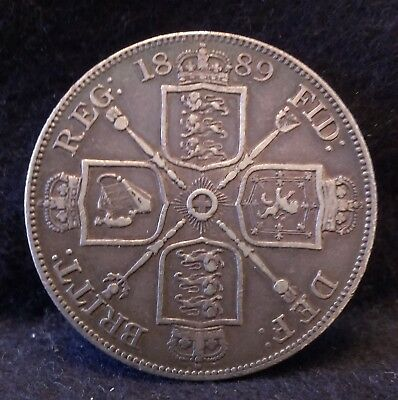 1889 Great Britain silver double florin, unusual crown sized issue, KM-763