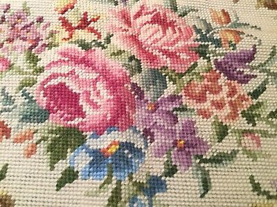 LARGE VINTAGE ANTIQUE HAND EMBROIDERED FLORAL TAPESTRY 86x77cm Centre Main 76x64