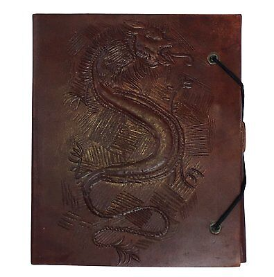 Hand Painted Dragon Embossed Leather Journal Diary Notebook Men Women Small Gift