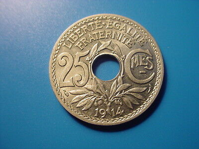 France 1914 25-Centimes In Brilliant Uncirculated Condition