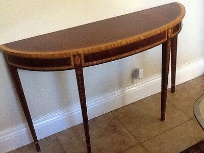 28035E:  COUNCILL CRAFTSMAN 1/2 Round Inlaid Mahogany Console Table