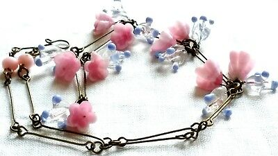 Pink Murano Glass Flower Bead Necklace Vintage Deco Style