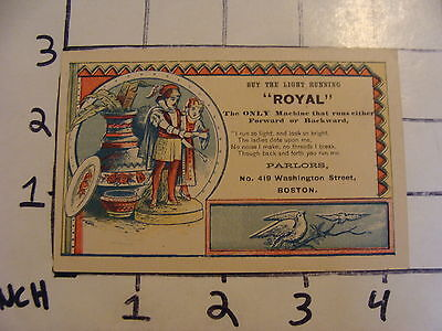 "Original Vintage Tradecard: buy the light running ""ROYAL"""