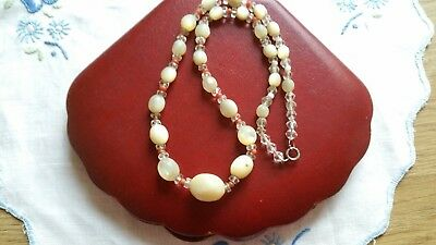Vintage Art Deco Mother Of Pearl And Coral Necklace